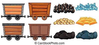 charrettes, pierre, différent, exploitation minière