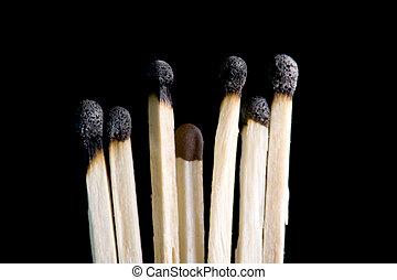charring match closeup - object on black - match close up