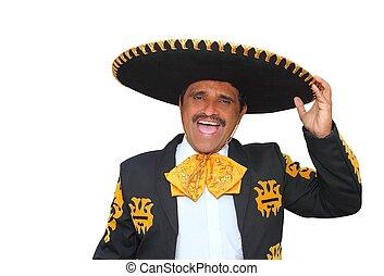 charro, mariachi, 叫びなさい, 肖像画, 白, 歌うこと