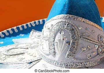 charro mariachi blue mexican hat detail over orange