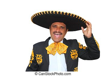 charro, mariachi, kiált, portré, fehér, éneklés