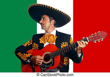 Charro Mariachi playing guitar in Mexico flag