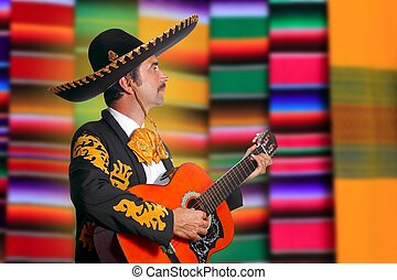 Charro Mariachi playing guitar serape poncho