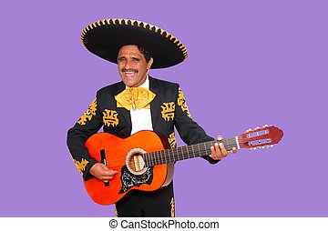 Charro Mariachi singing playing guitar on purple