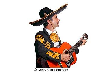 charro, mexicano, guitarra del mariachi, blanco, juego