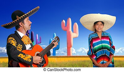 charro, mexicano, guitarra del mariachi, niña, poncho, juego