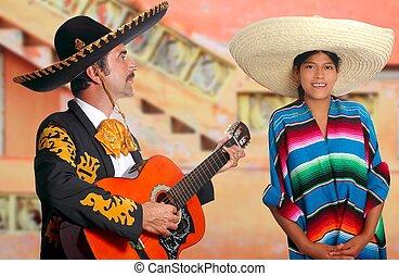 charro, mexicano, méxico, mariachi, niña, poncho, hombre