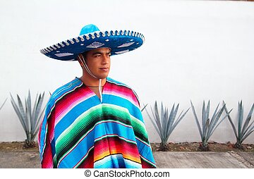 charro, mexikanisch, agave, serape, mann, hut, hübsch