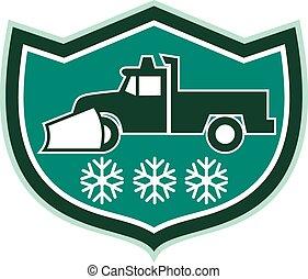 charrue neige, camion, flocons neige, bouclier, retro