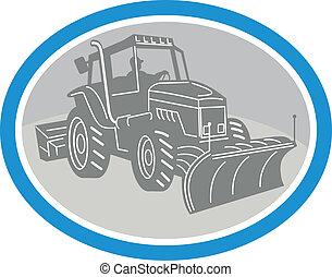 charrue neige, camion, ovale, retro