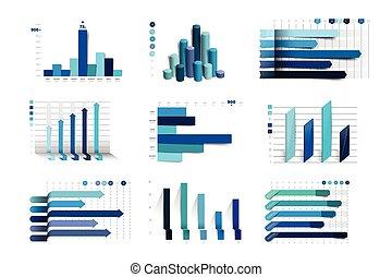 charst, 藍色, 集合, 元素, 事務, 大, 圖, 顏色,  infographics