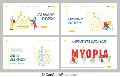 chart., óptico, eyeglasses., página, vector, set., ilustración, lineal, oculist, indicador, miopía, gente, ojos, oftalmólogo, mujer, carácter, prueba, plantilla, snellen, enfermedad, aterrizaje, tratamiento, doctor