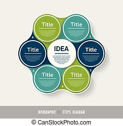 chart., テンプレート, ∥あるいは∥, ベクトル, ステップ, ビジネス 提示, 円, オプション, 背景, processes., 抽象的, infographic., グラフ, 6, 図, 部分, 概念