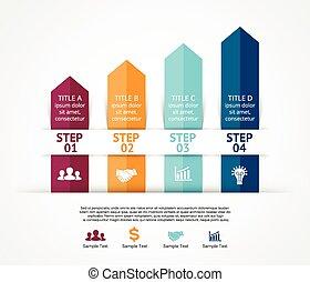 chart., 図, 概念, processes., ビジネス, 部分, オプション, 矢, の上, グラフ,...