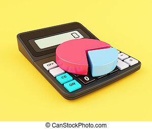 chart., 计算器, 馅饼, 办公室, 3d