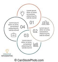 chart., 4, 矢量, 選擇, 最小, 圖表, 週期, 線性, 概念, 事務, infographic, 圖形, 套間, 箭, processes., 環繞, 步驟, 表達, 部分