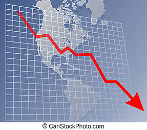 Chart americas down - Chart with downwards arrow over a map ...