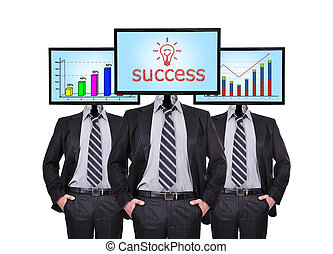 chart and success - businessmans and monitor with chart and...