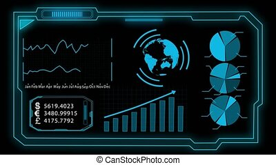 Chart assembly. Black background - Digital screen consisting...