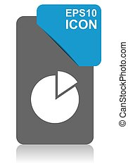 Chart black and blue vector pointer icon on white background in eps 10