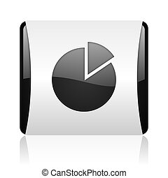 chart black and white square web glossy icon