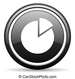 chart black glossy icon on white background