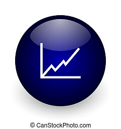 Chart blue glossy ball web icon on white background. Round 3d render button.