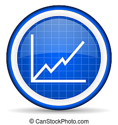 chart blue glossy icon on white background