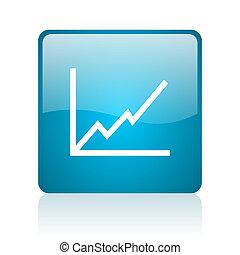 chart blue square web glossy icon