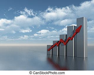 chart - business graph under cloudy blue sky - 3d...