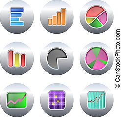 chart buttons - collection of chart and statistics buttons...
