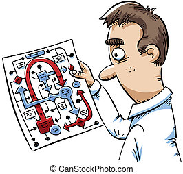 Chart Confusion - A cartoon man is confused by a complicated...