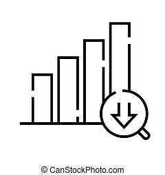 Chart diagram analysis line icon, concept sign, outline vector illustration, linear symbol.