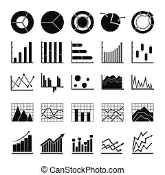 Chart diagram icon set, simple style