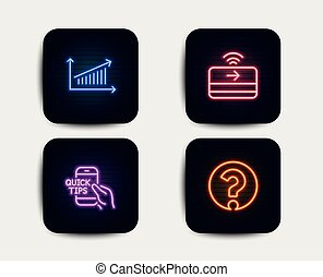 Chart, Education and Contactless payment icons. Question mark sign. Vector
