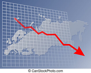 Chart Europe down - Chart with downwards arrow over a map of...