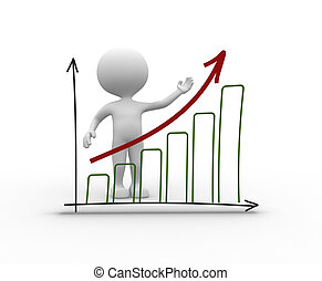Chart financial. Success - 3d people - man, person with a...