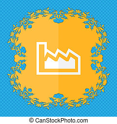 Chart. Floral flat design on a blue abstract background with place for your text.