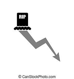 chart., grafico, illustrazione, vettore, declino, morti, ...