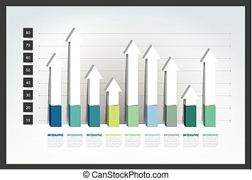 Chart, graph, 3D style. Infographics element.
