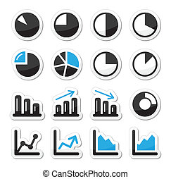 Chart graph black and blue icons as