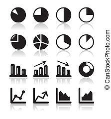 Chart graph black icons set for inf