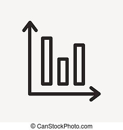 chart graph icon of brown outline for illustration