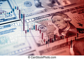 Chart graph spreadsheet on US dollar banknotes money.