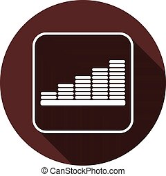 Chart icon in the contour of a square with a shadow on a circle of dark red color, vector