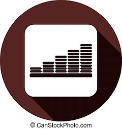 Chart icon on a white square with a shadow on a circle of dark red color, vector
