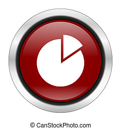 chart icon, red round button isolated on white background, web design illustration