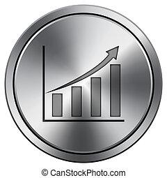 Chart icon. Round icon imitating metal.