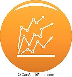 Chart icon vector orange