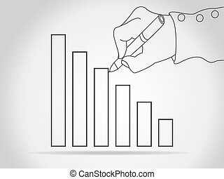 chart icon with hand, vector illustration. Flat design style